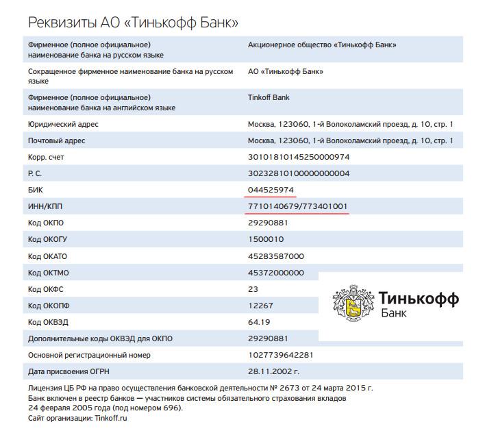 Индивидуальный номер налогоплательщика и другие банковские реквизиты Тинькофф, необходимые для оплаты размещены на официальном интернет-ресурсе компании